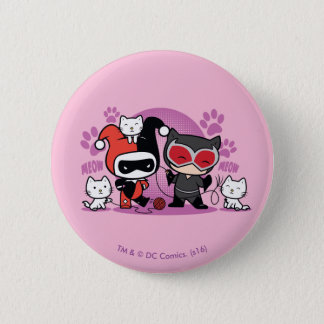 Chibi Harley Quinn et Catwoman de Chibi avec des Badges
