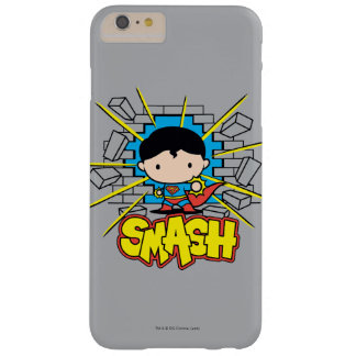 Chibi Superman heurtant par le mur de briques Coque iPhone 6 Plus Barely There