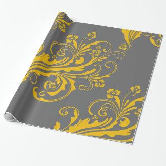 Chic floral jaune et gris papier cadeau