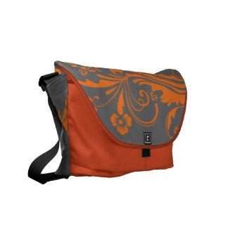 Chic floral orange et gris sacoche