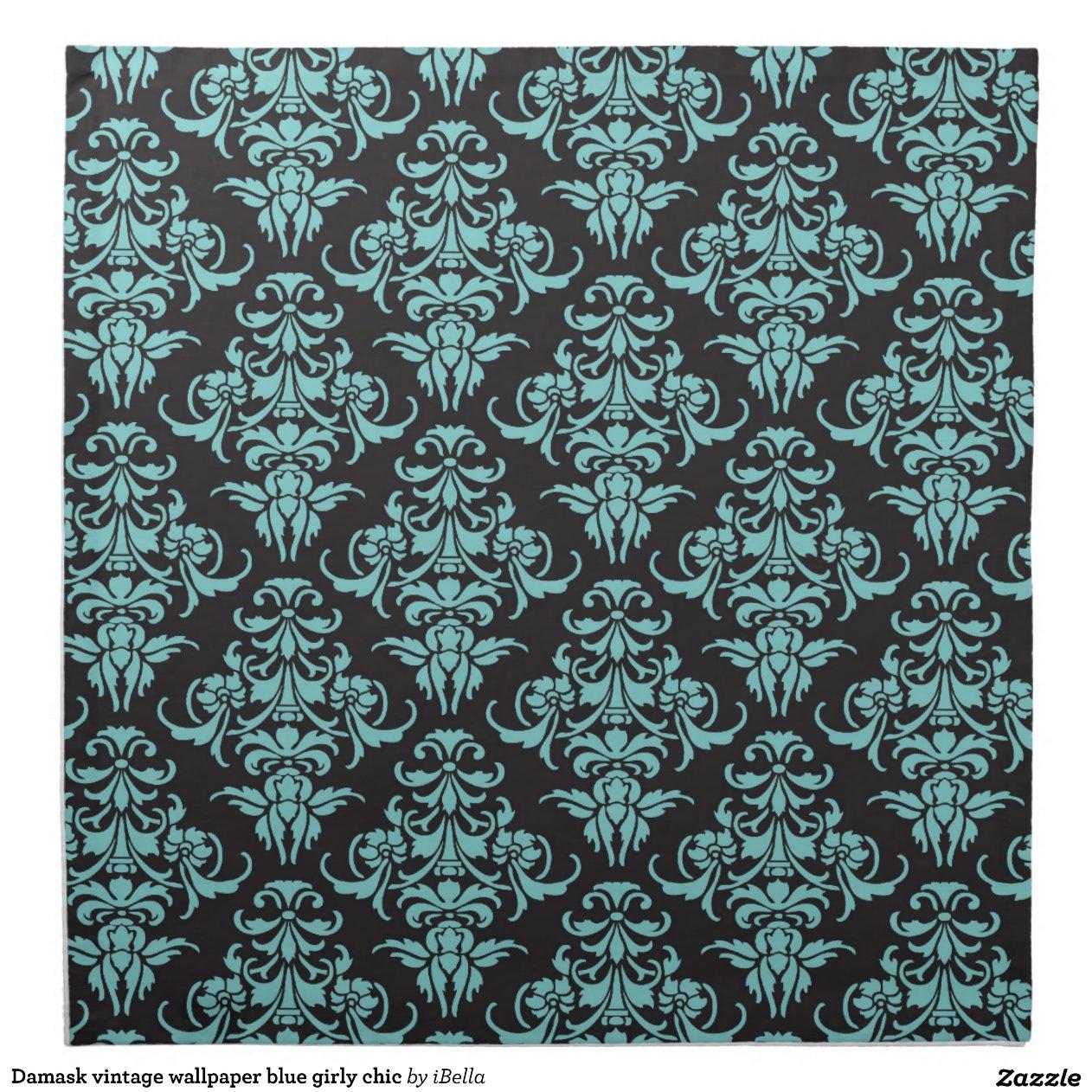 chic girly bleu de papier peint vintage de damass serviette imprim e zazzle. Black Bedroom Furniture Sets. Home Design Ideas