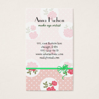 Chic minable, pois, roses - vert rouge-rose cartes de visite