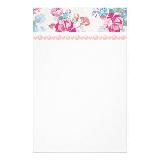 chic minable, rose floral, à la mode, girly, papiers à lettres
