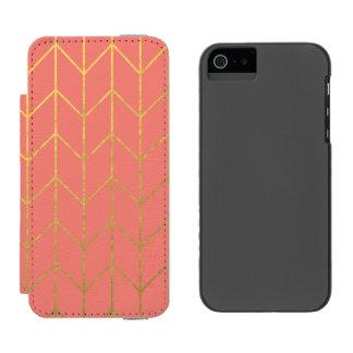 Chic moderne d'arrière - plan rose de corail de coque-portefeuille iPhone 5 incipio watson™