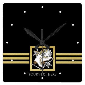 Chic moderne d'or noir de patinage de glace horloge carrée