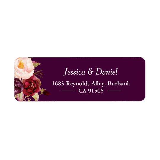 Chic simple floral rustique pourpre de prune étiquette d'adresse retour