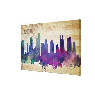Chicago, horizon de ville d'aquarelle d'IL| Toile
