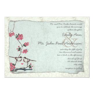 Chickadee vintage mariage damassé de fleurs de carton d'invitation  12,7 cm x 17,78 cm
