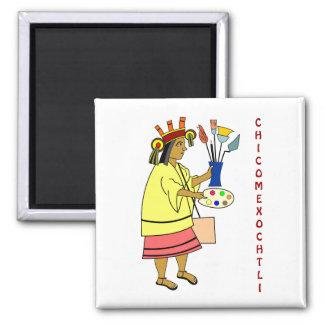 Chicomexochtli - un dieu de patron des peintres et magnet carré
