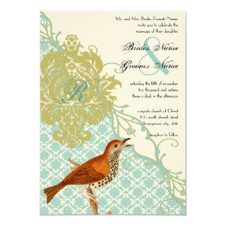 Chicorée frisée e/scarole vintage mariage damassé carton d'invitation  12,7 cm x 17,78 cm