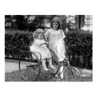 Chien bâtard sur le tricycle, les années 1920 cartes postales
