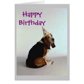 Chien d'anniversaire de basset carte de vœux