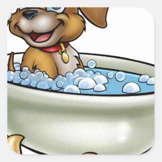 Chien dans la bande dessinée de Bath Sticker Carré
