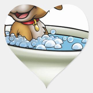 Chien dans la bande dessinée de Bath Sticker Cœur