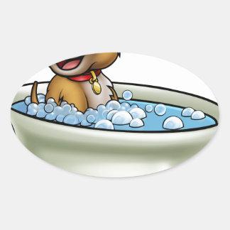 Chien dans la bande dessinée de Bath Sticker Ovale