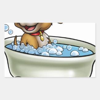Chien dans la bande dessinée de Bath Sticker Rectangulaire