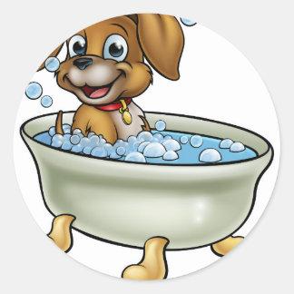 Chien dans la bande dessinée de Bath Sticker Rond