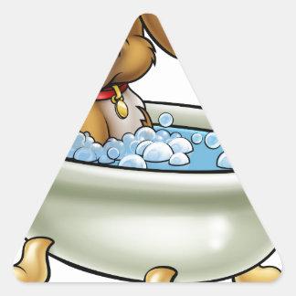 Chien dans la bande dessinée de Bath Sticker Triangulaire