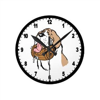 Chien de barillet de St Bernard Horloge Ronde