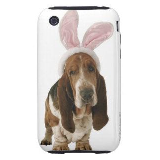 Chien de basset avec des oreilles de lapin coque tough iPhone 3