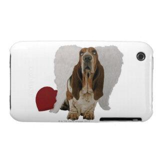 Chien de basset avec le coeur et les ailes coques Case-Mate iPhone 3