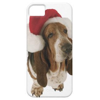 Chien de basset dans le casquette de Père Noël Coque Barely There iPhone 5