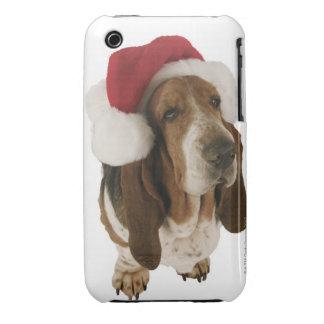 Chien de basset dans le casquette de Père Noël Coques Case-Mate iPhone 3