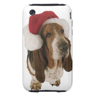 Chien de basset dans le casquette de Père Noël Coques Tough iPhone 3