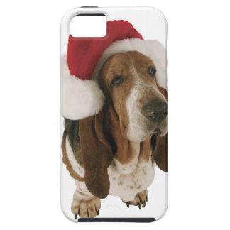 Chien de basset dans le casquette de Père Noël Étuis iPhone 5