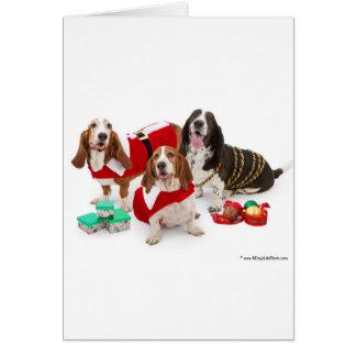 chien de basset de Noël Carte De Vœux