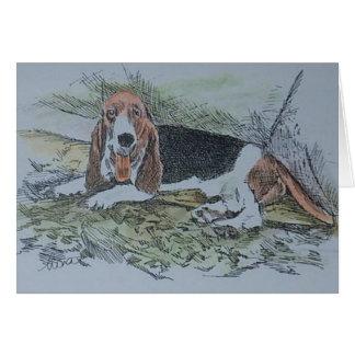 chien de basset-hound carte de vœux