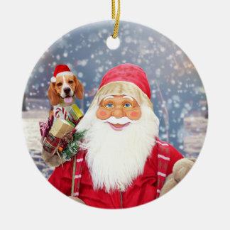 Chien de beagle de cadeaux de Noël du père noël W Ornement Rond En Céramique