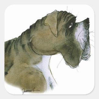 chien de boxeur, fernandes élégants sticker carré