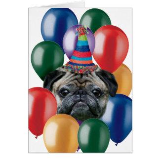 Chien de carlin de joyeux anniversaire cartes de vœux