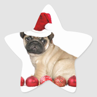 Chien de carlin de Noël Sticker Étoile
