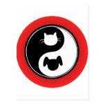 Chien de chat de Yin Yang Cartes Postales