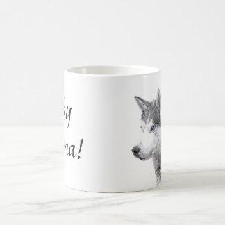 Chien de chiens de traîneau sibériens, maman mug