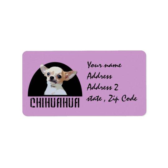Chien de chiwawa étiquette d'adresse