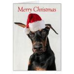 Chien de dobermann avec la carte de Noël de chapea