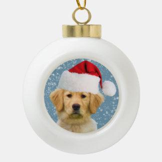 Chien de golden retriever dans le chapeau de Père Décorations De Noël