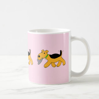 Chien de Kawaii Airedale Terrier avec une tasse de