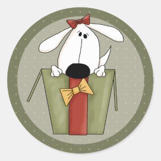 Chien de Noël Sticker Rond