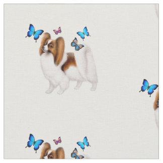 Chien de Papillon avec le tissu de coton de