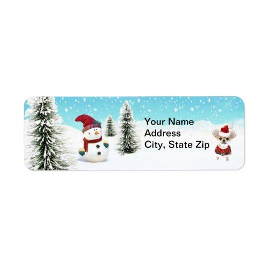 Chien de Père Noël (2) Étiquettes D'adresse Retour