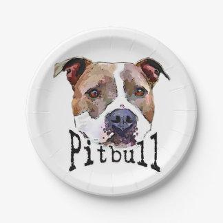 Chien de Pitbull Assiettes En Papier