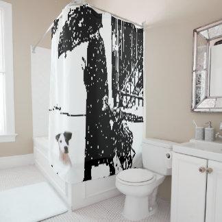 Chien de rideau en douche