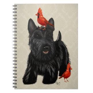 Chien de Scottie et oiseaux rouges Carnet
