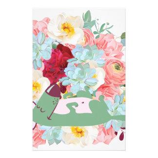 Chien de sommeil avec des fleurs papeterie