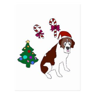 Chien de St Bernard de Noël Cartes Postales