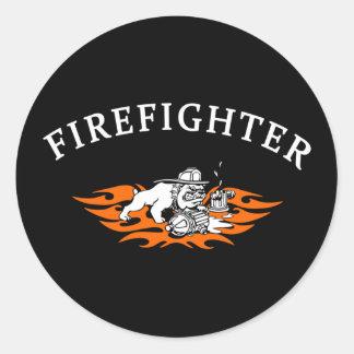 Chien de Taureau de sapeur-pompier dur Sticker Rond